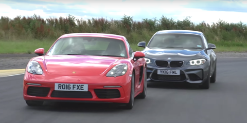 Watch the Porsche 718 Cayman S and BMW M2 Battle on Track
