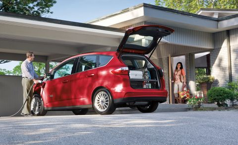 """<p>The Ford C-Max Energi could be considered the sensible shoe of the plug-in set, thanks to its practical, minivan-like shape, benign handling, and adequate if uninspiring 188-hp hybrid powertrain. Surprisingly, the Energi doesn't achieve much better fuel economy than the standard C-Max hybrid, so the play is only to get the 19 miles of electric range from its 7.6-kWh battery pack.<br></p><p><strong data-redactor-tag=""""strong""""><em data-redactor-tag=""""em""""><a href=""""http://www.caranddriver.com/ford/c-max http://www.caranddriver.com/reviews/2013-ford-c-max-energi-plug-in-hybrid-test-review """" target=""""_blank"""">Read More</a></em></strong></p>"""