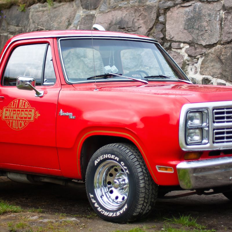 <p>Dodge kicked off the whole fast pickup truck trend back in 1978 with the Lil' Red Express. It came standard with a 360 cubic-inch V8, and yes, those vertical exhausts are functional. It only made 221 horsepower, but it was genuinely quick for the time.</p>