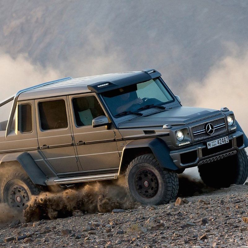 "<p>The 577-hp Mercedes G63 is already one of the silliest SUVs on sale, but add a second set of rear wheels and jack the thing up on portal axles, and you get <a href=""http://www.roadandtrack.com/car-culture/videos/a8498/mercedes-benz-g63-amg-6x6-at-zandvoort/"" target=""_blank"" data-tracking-id=""recirc-text-link"">a truck that's truly unhinged</a>. You're more likely to see one of these tearing up a Middle Eastern desert than at your local job&nbsp&#x3B;site, but hey, it's got a bed and a tailgate.</p>"