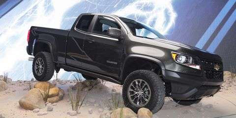 "<p>The <a href=""http://www.roadandtrack.com/car-shows/news/a31614/the-chevy-colorado-zr2-is-the-last-old-school-off-roader/"" target=""_blank"" data-tracking-id=""recirc-text-link"">Chevrolet Colorado ZR2</a> was a pleasant surprise. Chevy got in the factory off-roader game kind of late, but the <a href=""http://www.roadandtrack.com/new-cars/future-cars/news/a31584/the-chevrolet-colorado-zr2-will-be-your-favorite-off-road-truck/"" target=""_blank"" data-tracking-id=""recirc-text-link"">ZR2 has hardware</a> that'll make it a serious challenge to the F-150 Raptor. It's an old-school off-roader, and we can't wait to try it.</p>"