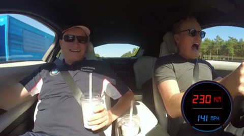 Conan O'Brien Going 140 MPH on the Autobahn in a BMW i8 Is as Goofy as You'd Expect
