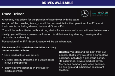 Mercedes F1 driver advertisement