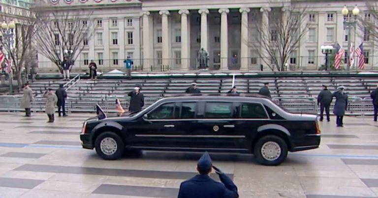 President Trump\'s Limo - No New Limousine at Trump Inauguration
