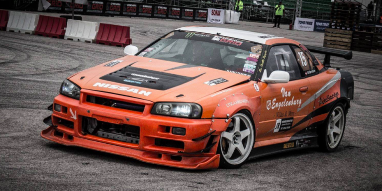 This R34 Skyline Drift Car Packs A Viper V10 Punch