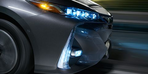 """<p>        <a href=""""http://blog.caranddriver.com/out-of-the-dark-the-future-of-automotive-headlights/"""" data-tracking-id=""""recirc-text-link"""" target=""""_blank"""">Light-emitting diodes</a> use a fraction of the energy required by xenon and halogen bulbs, yet they cast an even brighter and whiter swath of light. It's standard on the 2017 Toyota Prime, pictured above, with Quad-LED projector headlights and available fog and accent lights. They also hardly, if ever, need to be replaced. As an added bonus, car designers can afford to go wild with dramatic shapes and curves that simply aren't possible using traditional bulbs.  <span class=""""redactor-invisible-space"""" data-verified=""""redactor"""" data-redactor-tag=""""span"""" data-redactor-class=""""redactor-invisible-space""""></span></p>"""
