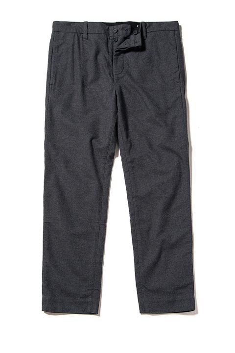 "<p>          A simple pair of charcoal cotton trousers will work almost anywhere and coordinate with just about anything in your closet. And the fact that these are made of recycled cotton means you aren't hurting the planet, which might help you sleep better at night. <i data-redactor-tag=""i"">Shop similar at&nbsp;</i><a href=""http://www.outerknown.com/mens/pants""><i data-redactor-tag=""i"" data-tracking-id=""recirc-text-link"">outerknown.com</i></a><i data-redactor-tag=""i""><u data-redactor-tag=""u""></u></i>  <span class=""redactor-invisible-space"" data-verified=""redactor"" data-redactor-tag=""span"" data-redactor-class=""redactor-invisible-space""></span></p>"