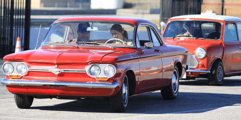 corvair young person driving stick shift