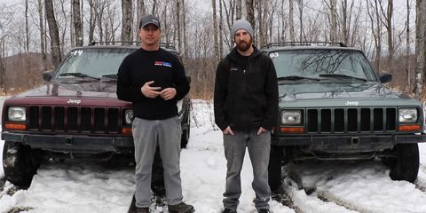 Land vehicle, Vehicle, Car, Jeep cherokee (xj), Snow, Automotive exterior, Luxury vehicle, Compact sport utility vehicle, Jeep, Winter,