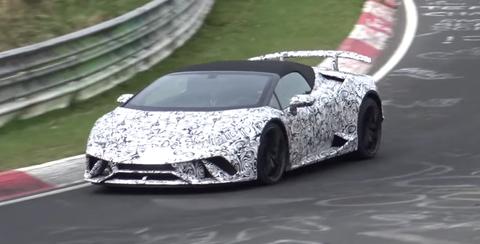 Lamborghini Huracan Performante Spyder Testing Nurburgring camouflage
