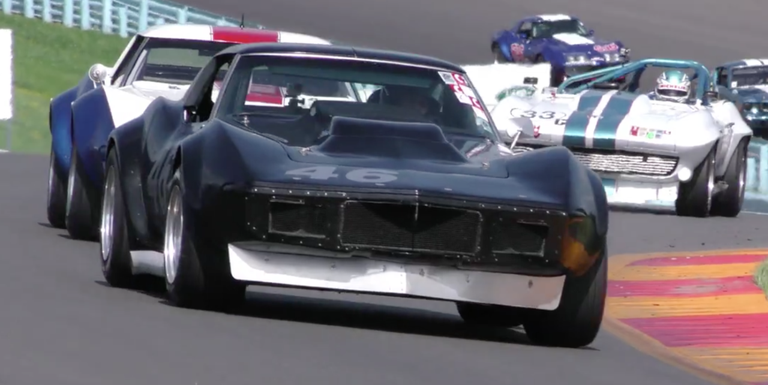 watch a vintage racer barely keep this wild corvette under