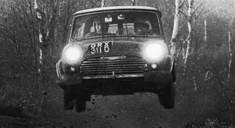 Timo Makinen Austin Morris Mini Jump Rally