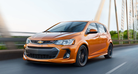Price:$18,455  EPA Fuel Economy (city/highway):28/38  Rear Cargo Volume (cubic feet with seats up):19  There's the one you should buy, and the one you really want. In the land of Sonic, the object of our desire is the sporty RS model with its turbo motor, lowered suspension, and slot-car handling. But the RS runs slightly north of our $20,000 cutoff.  Yet there is another Sonic that offers some of the bang for less money. Move up from the base trim to the Sonic LT and you can ditch the standard 1.8-liter four-cylinder for the turbocharged 1.4-liter Ecotec. It makes the same 138 hp but offers 23 more lb.-ft. of torque and 40 mpg on the highway for just $700 more. Oh, and this option also brings a six-speed manual in place of the five-speed. For 2016, the LT model also gains Chevy MyLink with a 7-inch touchscreen as standard.