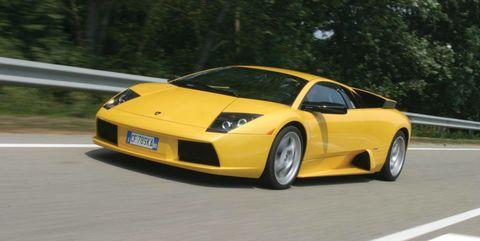 Land vehicle, Vehicle, Car, Supercar, Automotive design, Lamborghini murciélago, Yellow, Sports car, Lamborghini, Mode of transport,