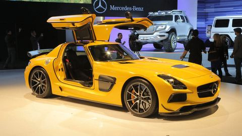 Land vehicle, Vehicle, Car, Mercedes-benz sls amg, Auto show, Automotive design, Sports car, Motor vehicle, Supercar, Performance car,