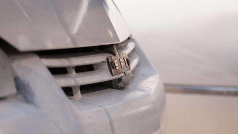 Automotive exterior, Grille, Hood, Bumper, Bumper part, Silver, Steel, Synthetic rubber, Kit car,