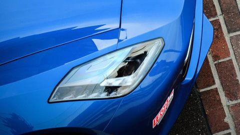 Blue, Automotive design, Headlamp, Automotive exterior, Hood, Automotive lighting, Car, Electric blue, Glass, Light,