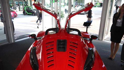 Automotive design, Red, Carmine, Windshield, Automotive window part, Machine, City car, Classic car, Classic, Kit car,
