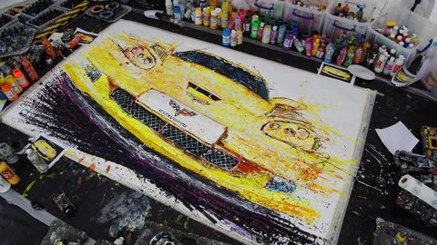 Paint, Art, Art paint, Painting, Illustration, Locomotive, Drawing, Water transportation, Artwork, Collection,