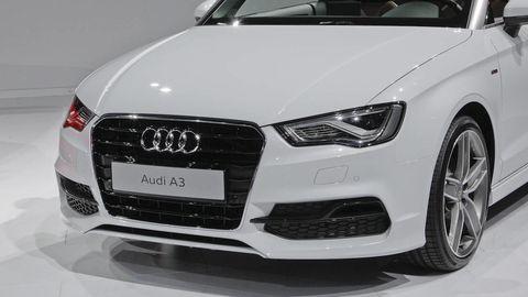 Automotive design, Vehicle, Grille, Car, Headlamp, Audi, White, Automotive lighting, Bumper, Automotive exterior,