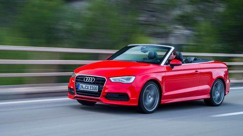 Tire, Automotive design, Vehicle, Car, Red, Automotive mirror, Bumper, Hood, Audi, Grille,