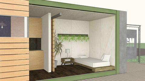 Wood, Bed, Wall, Room, Floor, Interior design, Hardwood, Plywood, Shade, Rectangle,