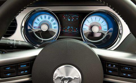 Motor vehicle, Mode of transport, Car, Speedometer, Steering wheel, Gauge, Steering part, Tachometer, Grey, Luxury vehicle,
