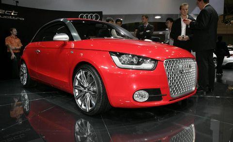 Tire, Wheel, Automotive design, Vehicle, Event, Land vehicle, Car, Grille, Red, Audi,
