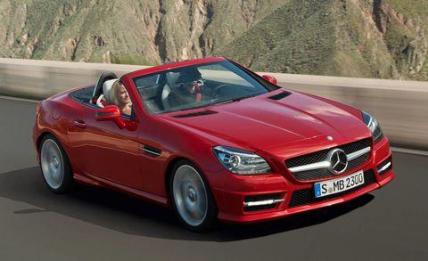 Mode of transport, Automotive design, Vehicle, Automotive mirror, Hood, Car, Mercedes-benz, Road, Grille, Red,