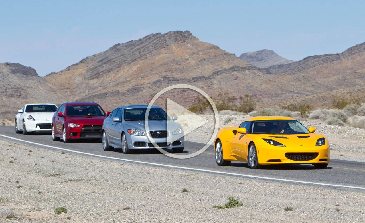 2 doors or 4? We tested the Nissan 370Z Touring Mistubishi Lancer EVO GSR Lotus Evora and Jaguar XFR to find out. & Door to Door Comparison Test Performance Video
