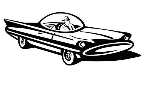 Motor vehicle, Automotive design, Mode of transport, Car, Classic car, Vehicle door, Hood, Automotive mirror, Black, Artwork,