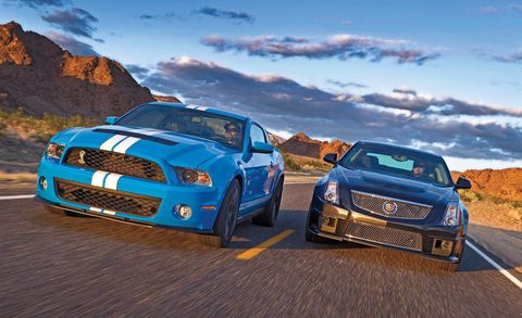 2011 ford shelby gt500 and 2011 cadillac cts v