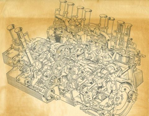 From the Archives: Coventry Climax flat-16 engine schematic