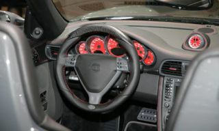 Motor vehicle, Mode of transport, Automotive design, Steering part, Steering wheel, Transport, White, Red, Speedometer, Center console,