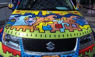 Motor vehicle, Mode of transport, Automotive exterior, Grille, Hood, Automotive lighting, Bumper, Majorelle blue, Electric blue, Automotive decal,