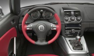 Motor vehicle, Steering part, Mode of transport, Steering wheel, Transport, Automotive design, Red, Photograph, White, Speedometer,