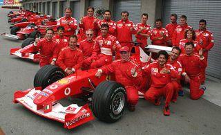 Tire, Automotive tire, Automotive design, Open-wheel car, Social group, Red, Car, Team, Formula one, Motorsport,