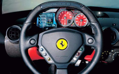 Motor vehicle, Mode of transport, Transport, Automotive design, Steering part, Steering wheel, Speedometer, Red, White, Gauge,