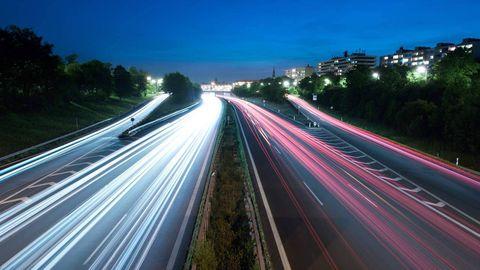 Road, Nature, Green, Night, Infrastructure, Road surface, Highway, Freeway, Asphalt, Line,