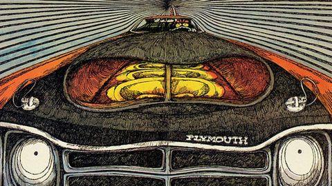 Art, Automotive lighting, Illustration, Bumper, Painting, Symmetry, Drawing, Graphics, Classic car, Hood,