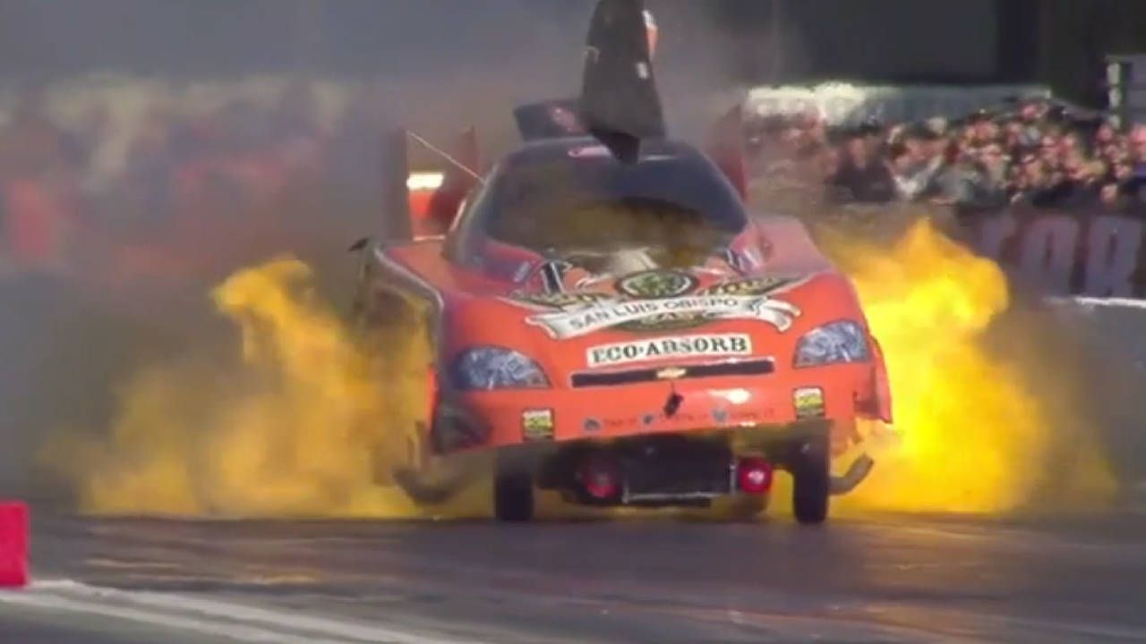Slow Motion NHRA Funny Car explosions are better than coffee fireworks!
