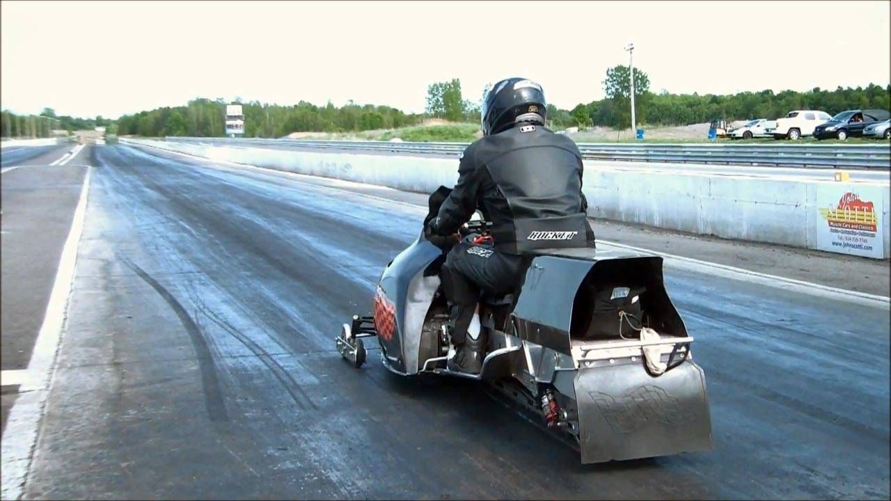 Summer snowmobiling on the drag strip is better than coffee