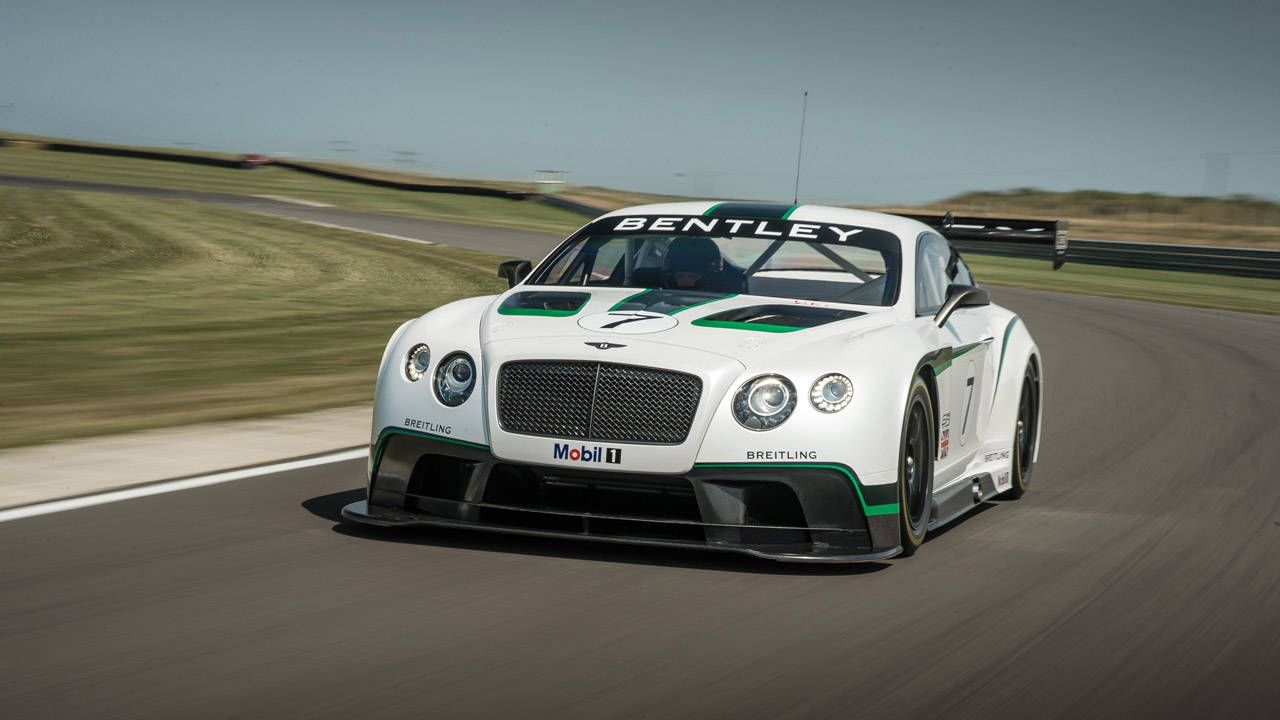Bentley runs the Continental GT3 up the hill at Goodwood
