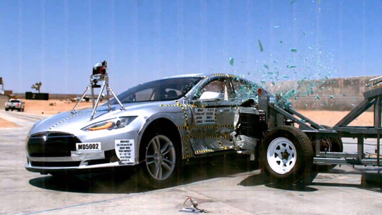 Watch the Tesla Model S break the NHTSA crash-test scale