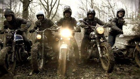 Tire, Wheel, Motorcycle, Automotive tire, Land vehicle, Helmet, Fender, Soil, Motorsport, Motorcycling,