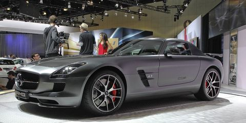 mercedes sends the sls amg off with a bang see photos of the final edition from the la show floor