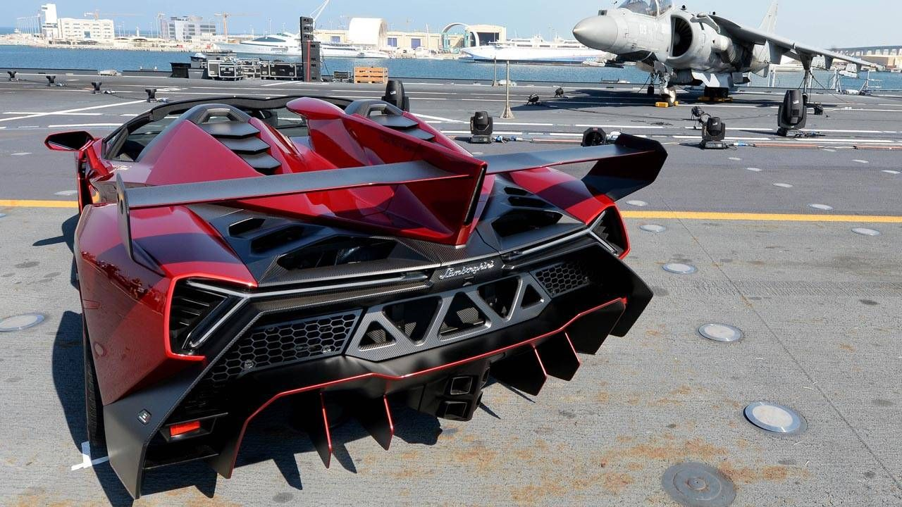 The Lamborghini Veneno Roadster debuts on an aircraft carrier