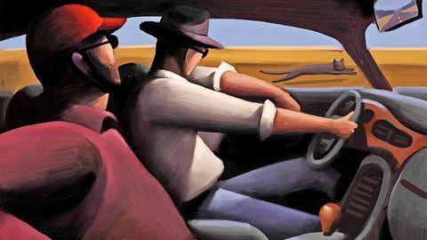 Motor vehicle, Steering part, Automotive design, Steering wheel, Vehicle door, Hat, Orange, Classic car, Auto part, Car seat,
