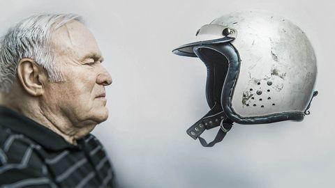 Personal protective equipment, Helmet, Motorcycle accessories, Motorcycle helmet, Wrinkle, Ski helmet, Portrait photography, Plaid, Tartan,