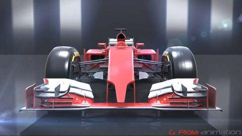 Automotive design, Open-wheel car, Mode of transport, Automotive tire, Automotive exterior, Red, Car, Formula one car, Race car, Formula one,